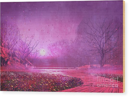 Wood Print featuring the painting Pink Landscape by Tithi Luadthong
