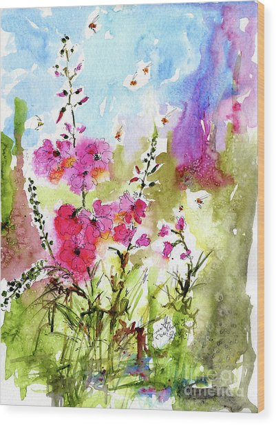 Pink Lavatera Watercolor Painting By Ginette Wood Print