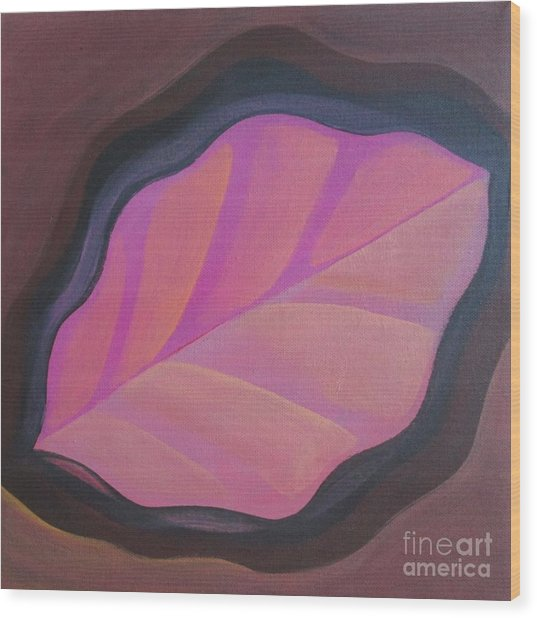 Pink Leaf Wood Print