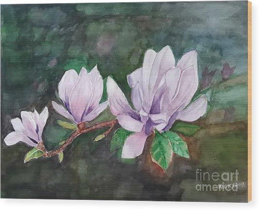 Pink Magnolia - Painting Wood Print