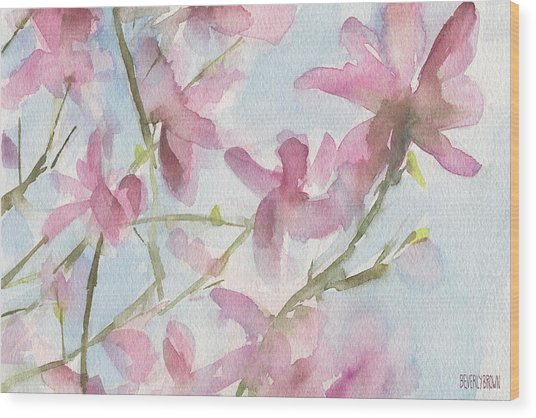 Pink Magnolias Blue Sky Wood Print by Beverly Brown