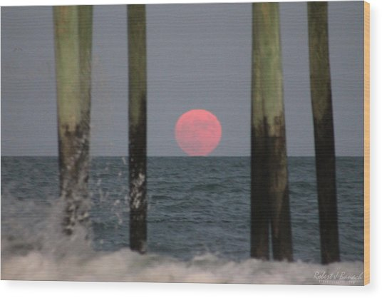 Pink Moon Rising Wood Print