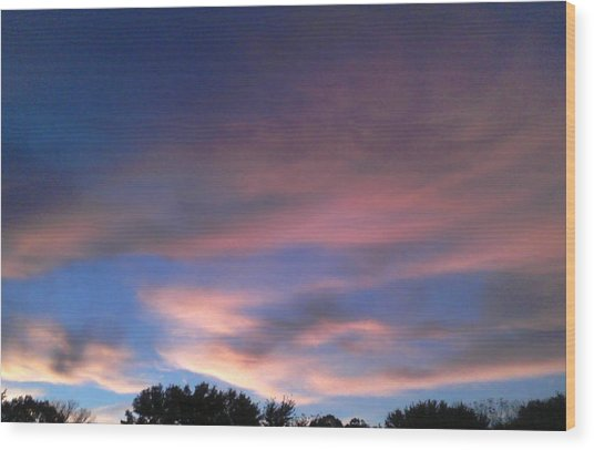 Pink Morning Clouds Wood Print