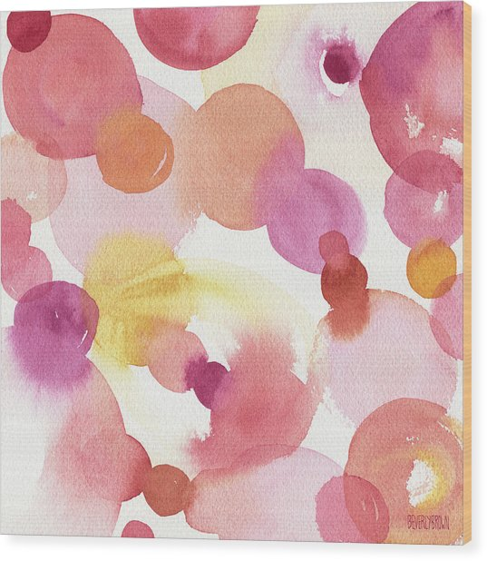 Pink Orange Yellow Abstract Watercolor Wood Print