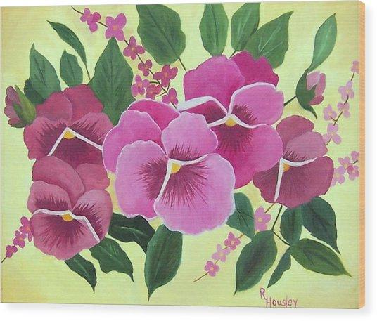 Pink Pansies Sold Wood Print by Ruth  Housley