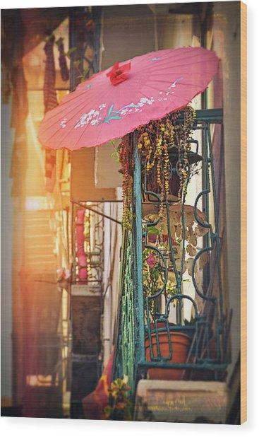 Pink Parasol On A Lisbon Balcony  Wood Print