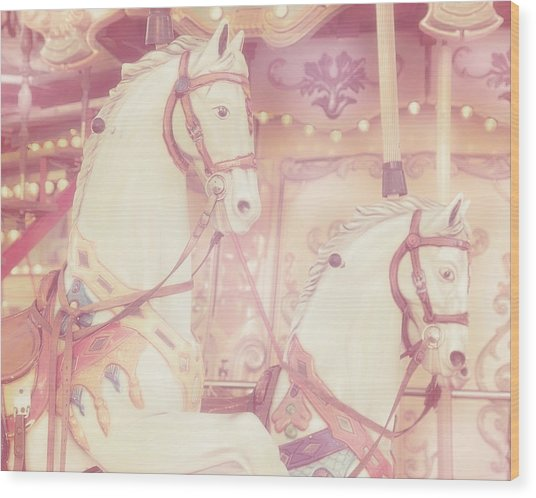 Wood Print featuring the photograph Pink Paris Carousel by Gigi Ebert