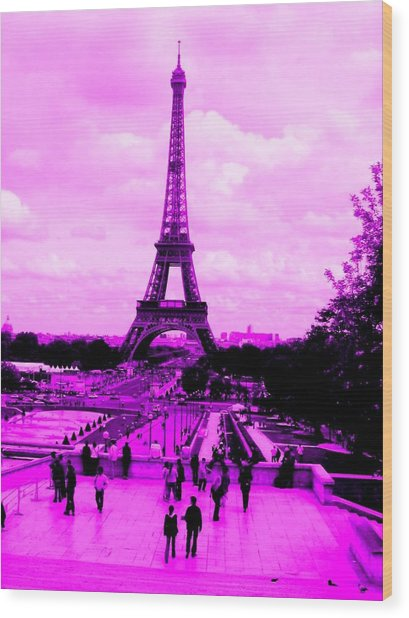 Wood Print featuring the photograph Pink Paris by Michelle Dallocchio