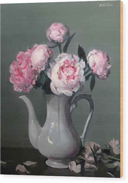 Pink Peonies In White Coffeepot Wood Print