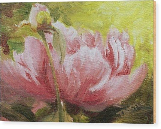 Pink Peony Print Wood Print by Patti Trostle