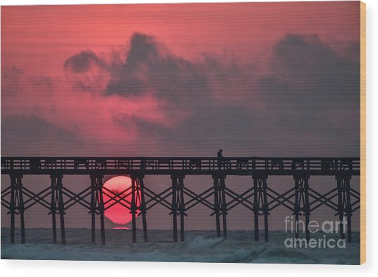 Pink Pier Sunrise Wood Print