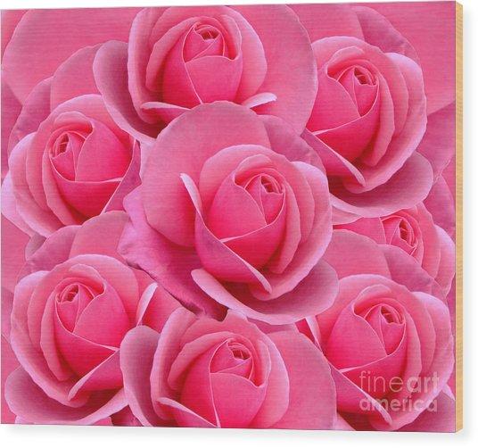 Pink Pink Roses Wood Print