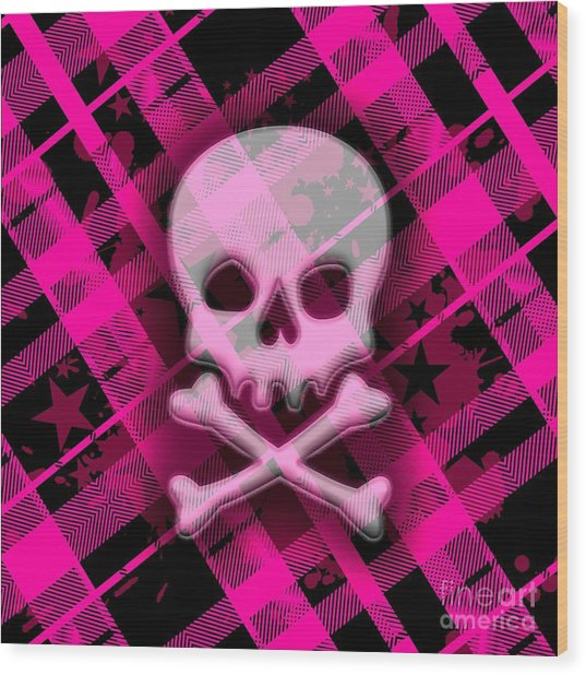 Pink Plaid Skull Wood Print