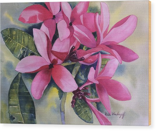 Pink Plumeria Flowers Wood Print