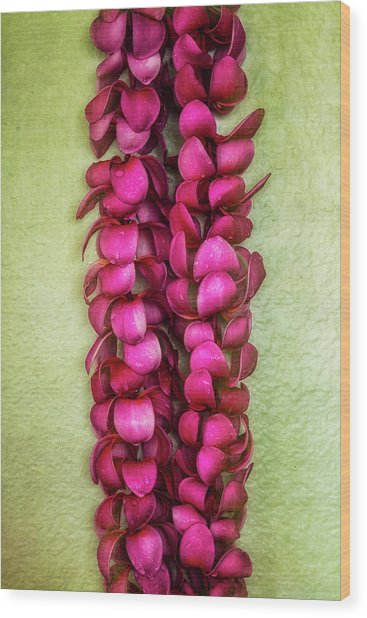 Pink Plumeria Lei Wood Print
