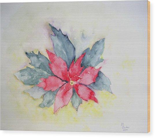 Pink Poinsetta On Blue Foliage Wood Print