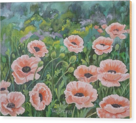 Pink Poppies Wood Print by Val Stokes