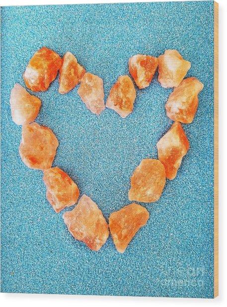 Pink Rocks Heart Wood Print