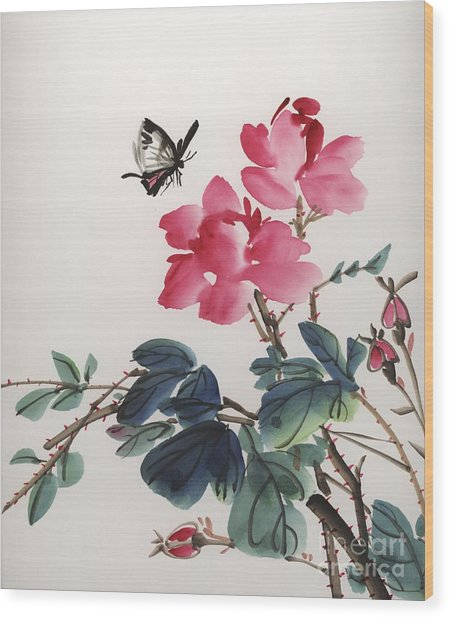 Pink Roses And Butterfly Wood Print