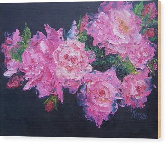 Pink Roses Oil Painting Wood Print