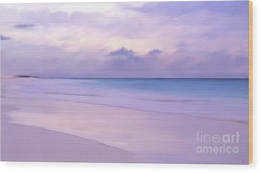 Pink Sand Purple Clouds Beach Wood Print