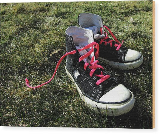 Pink Shoe Laces Wood Print