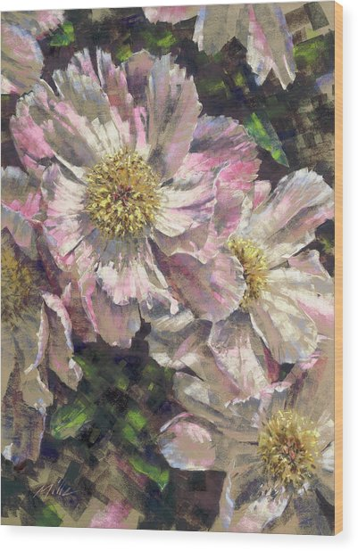 Pink Single Peonies Wood Print