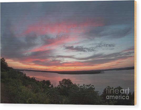 Pink Skies And Clouds At Sunset Over Lake Travis In Austin Texas Wood Print