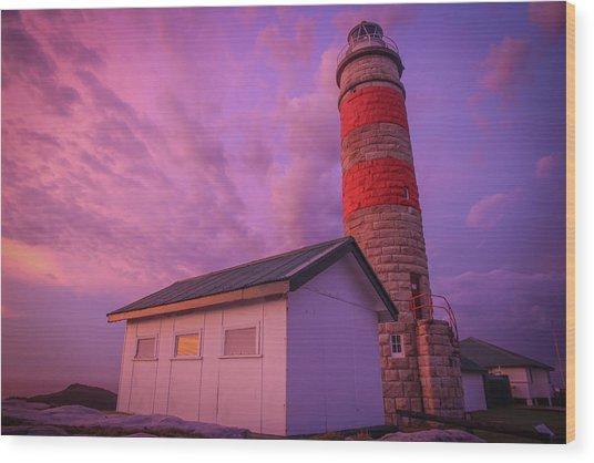 Pink Skies At Cape Moreton Lighthouse Wood Print