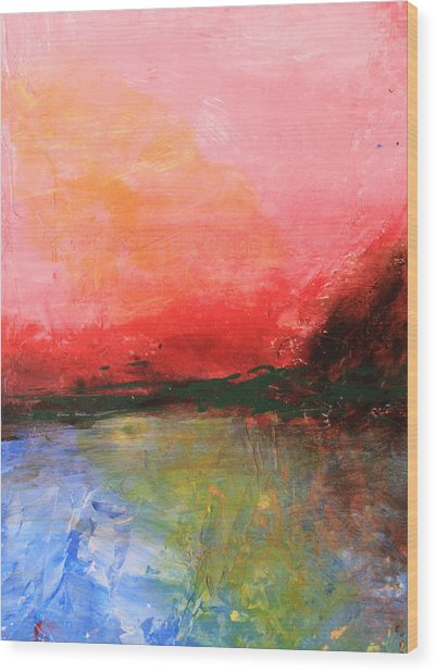 Pink Sky Over Water Abstract Wood Print