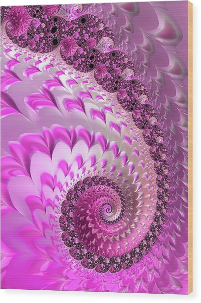 Pink Spiral With Lovely Hearts Wood Print