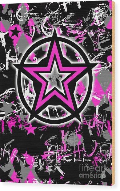 Pink Star Graphic Wood Print