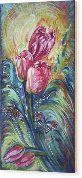 Pink Tulips And Butterflies Wood Print