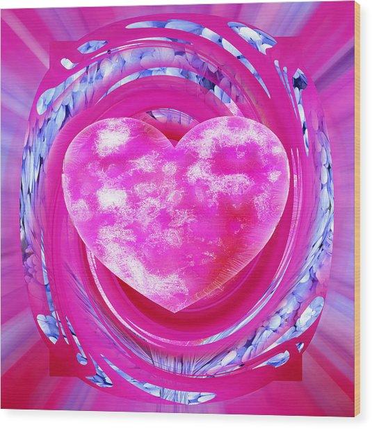 Pink Valentine Heart Wood Print