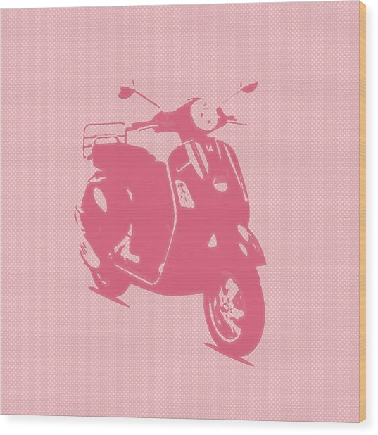 Pink Vespa Wood Print by Denis Bouchard