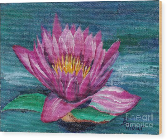 Pink Water Lily Original Painting Wood Print by Brenda Thour