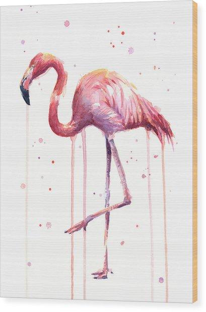Pink Watercolor Flamingo Wood Print