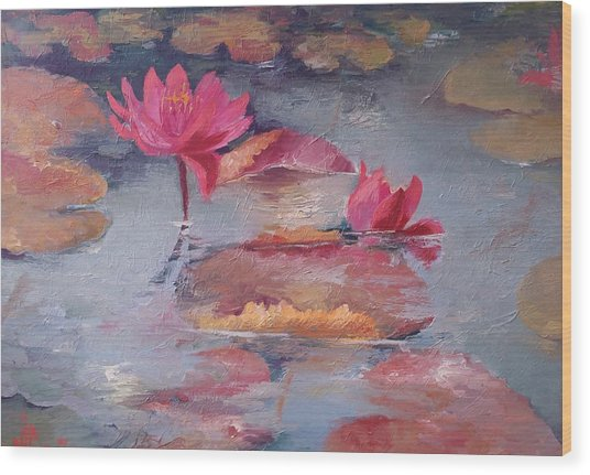 Pink Waterlilies Wood Print