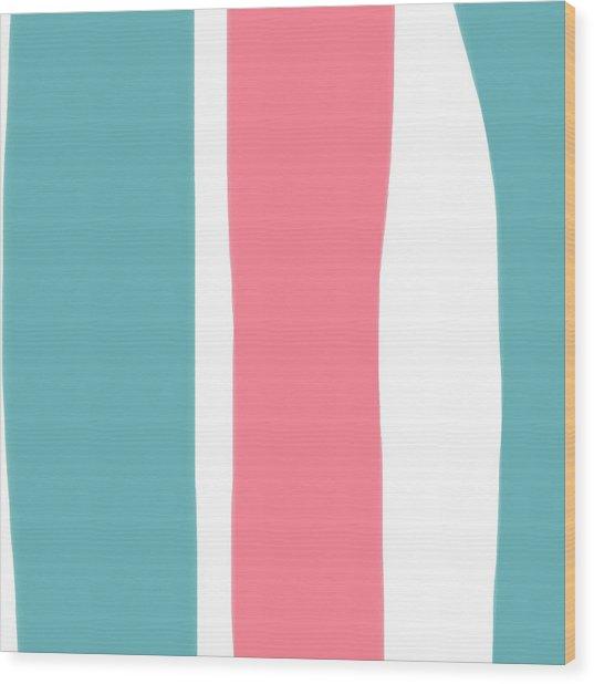 Pink White Blue 2 Wood Print