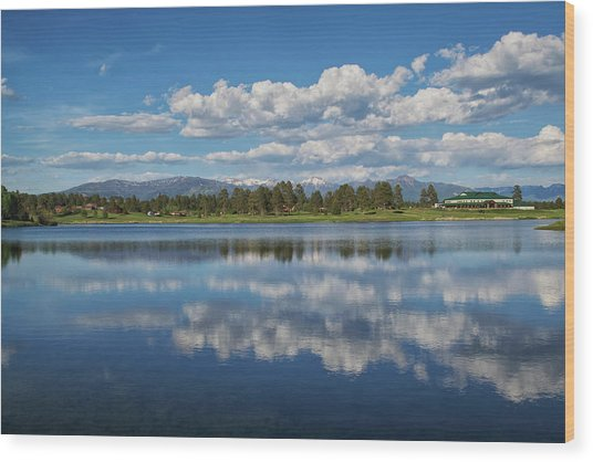 Pinon Lake Reflections Wood Print