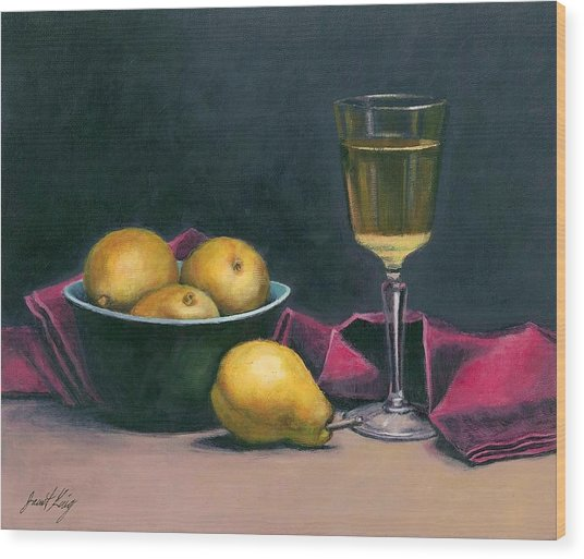 Pinot And Pears Still Life Wood Print