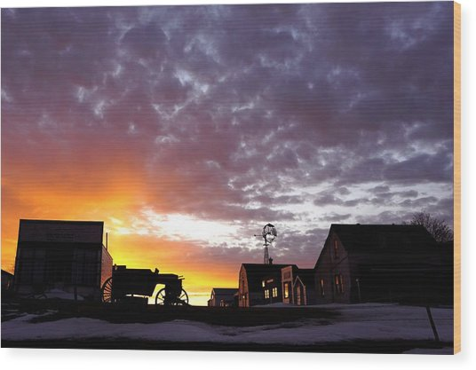 Pioneer Town Sunset Wood Print