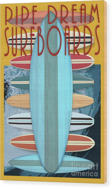 Wood Print featuring the digital art Pipe Dream Surfboards 4 by Edward Fielding