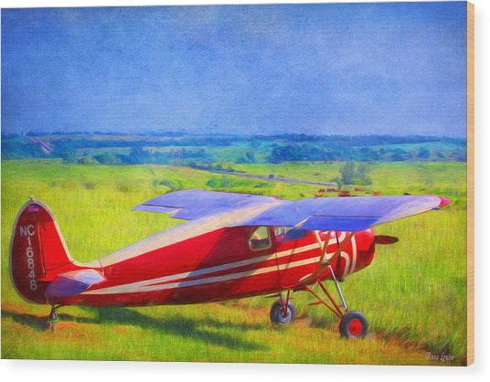 Piper Cub Airplane In Kansas Prairie Wood Print