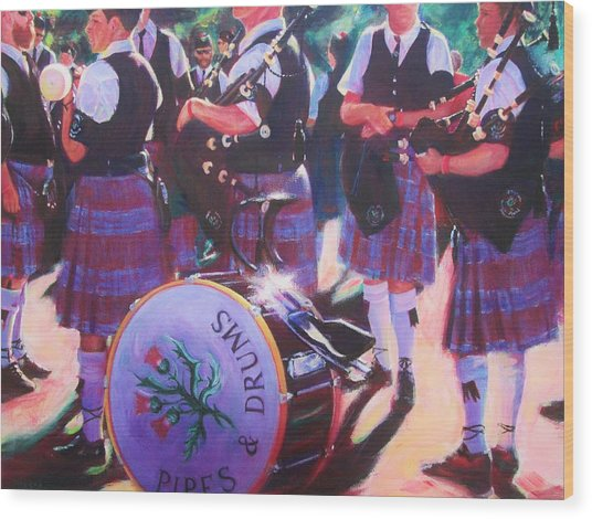 Pipes And Drums Wood Print
