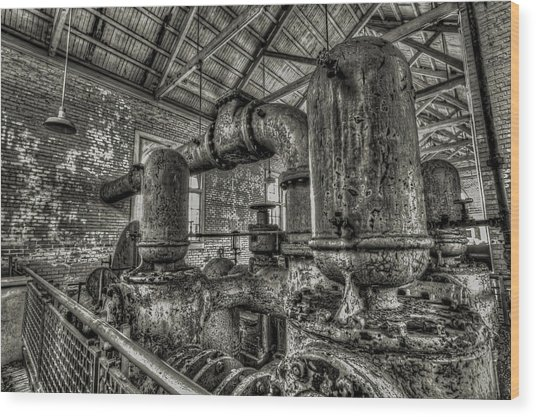 Pipes And Pumps And Pipes Wood Print