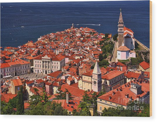 Piran From The Castle Wall Wood Print