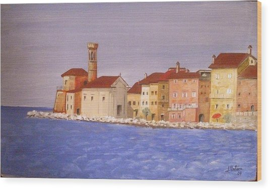 Piran The Lighthouse Wood Print by Anthony Meton