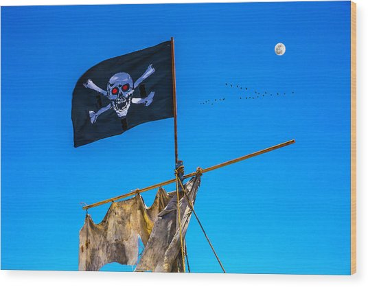 Pirate Flag And Moon Wood Print