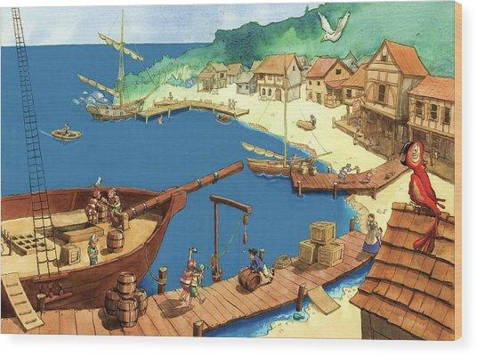 Pirate Port Wood Print